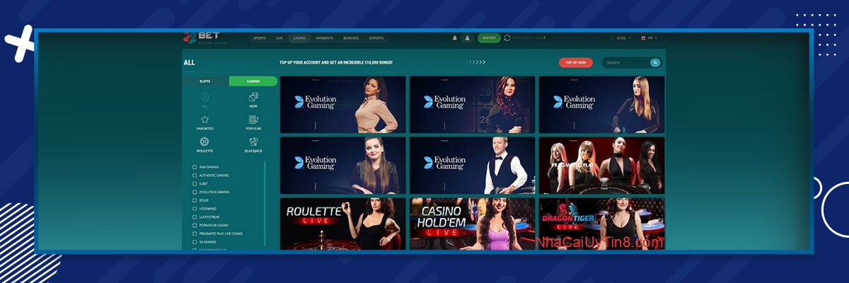 live casino 22bet