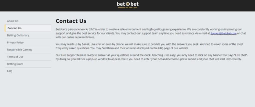 betobet casino online contact us
