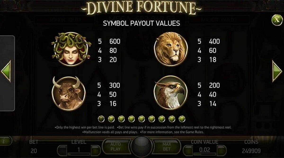 Divine Fortune high value symbols